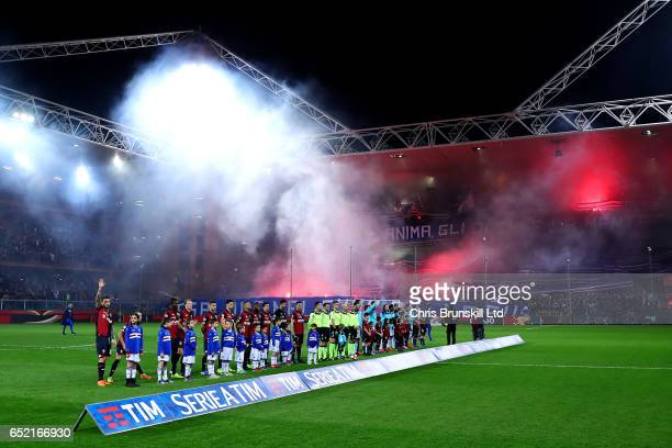 The two teams line up ahead of the Serie A match between Genoa CFC and UC Sampdoria at Stadio Luigi Ferraris on March 11 2017 in Genoa Italy