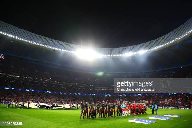 The two teams line up ahead of the UEFA Champions League Round of 16 First Leg match between Club Atletico de Madrid and Juventus at Estadio Wanda...