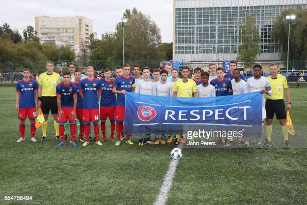 The two teams line up ahead of the UEFA Youth League match between CSKA Moskva U19s and Manchester United U19s at Oktyabr Stadium on September 27...