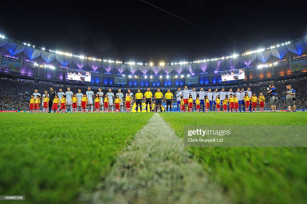 The two teams line up for the national anthems before of the 2014 FIFA World Cup Brazil Group F match between Argentina and Bosnia-Herzegovina at Maracana Stadium on June 15, 2014 in Rio de Janeiro, Brazil.