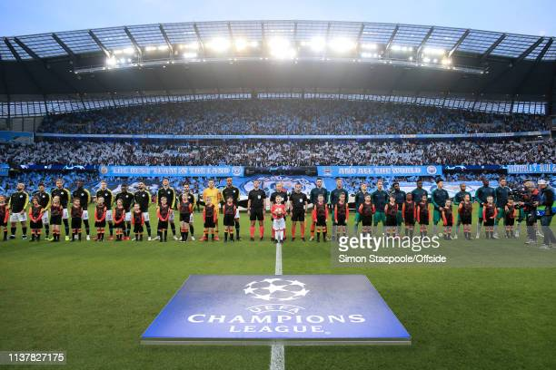 The two teams line up on the pitch before the UEFA Champions League Quarter Final second leg match between Manchester City and Tottenham Hotspur at...