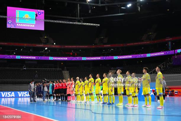 The two teams line up prior to the FIFA Futsal World Cup 2021 Round of 16 match between Kazakhstan and Thailand at Kaunas Arena on September 23, 2021...