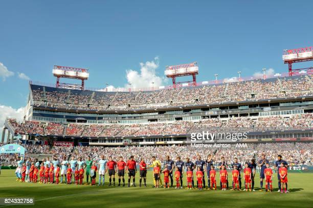 The two teams line up prior to the International Champions Cup 2017 match between Manchester City and Tottenham Hotspur at Nissan Stadium on July 29...