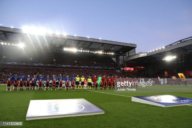 The two teams line up prior to the UEFA Champions League Quarter Final first leg match between Liverpool and Porto at Anfield on April 09 2019 in...