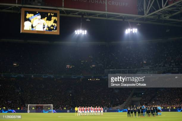 The two teams observe a minute's applause in memory of Emiliano Sala before the UEFA Champions League Round of 16 First Leg match between Ajax and...