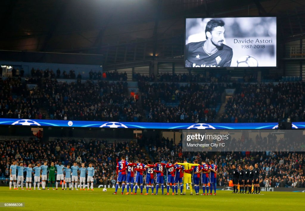 The two teams observe a minutes silence in memory of Davide Astori ahead of the UEFA Champions League Round of 16 Second Leg match between Manchester City and FC Basel at Etihad Stadium on March 7, 2018 in Manchester, United Kingdom.