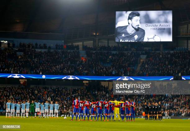 The two teams observe a minutes silence in memory of Davide Astori ahead of the UEFA Champions League Round of 16 Second Leg match between Manchester...