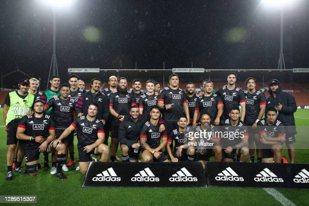 The two teams pose for a group photo following the match between Moana Pasifika and the Maori All Blacks at FMG Stadium Waikato on December 05, 2020...