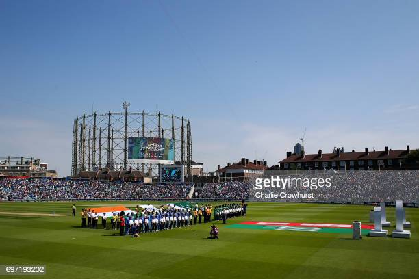 The two teams stand for the national anthems during the ICC Champions Trophy Final match between India and Pakistan at The Kia Oval on June 18 2017...