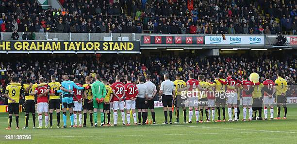 The two teams take part in a minute's silence in memory of the victims of the Paris terrorist attacks ahead of the Barclays Premier League match...