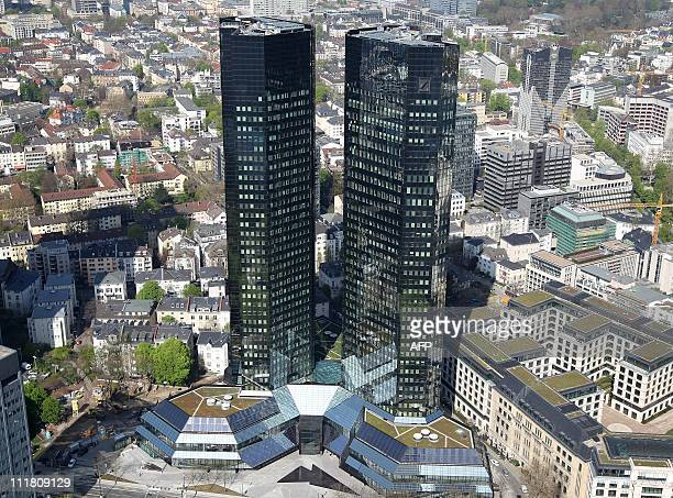 The two towers of the headquarters of German bank Deutsche Bank are seen in Frankfurt/M western Germany on April 7 2011 Deutsche Bank is Germany's...