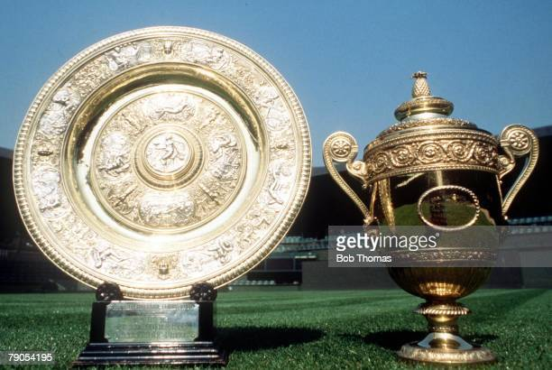 The two Wimbledon Championship Trophies prsented to the winners ofd the Ladies and Men's singles winners