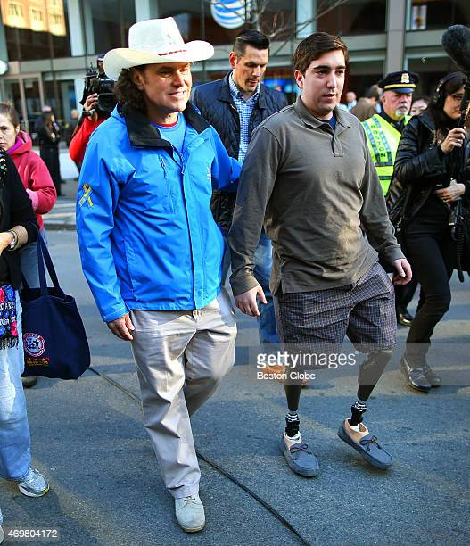 The two year anniversary of the Boston Marathon bombings was marked by a banner unveiling on Boylston Street at the finish line area Carlos Arredondo...