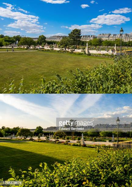 The two-part picture combo shows, above, Image, Parisians gathering and walking in the Tuileries garden, which is open to the public on May 31, 2020...