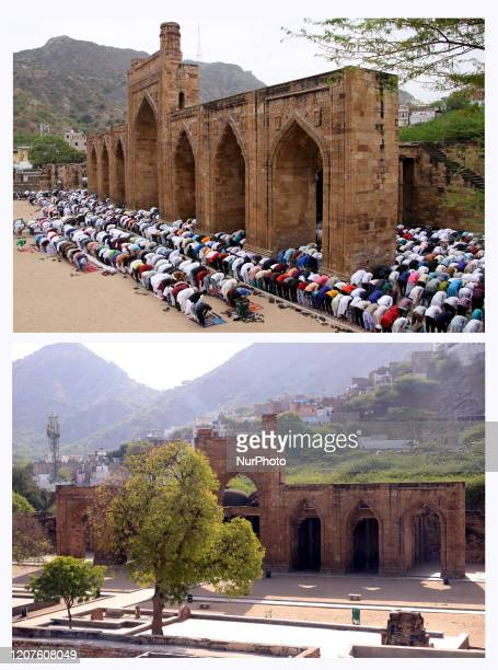 Image is a digital composite The twopart picture combo shows indian Muslim devotees Offer Friday prayers at the AdhaiDin Ka Jhonpra mosque and the...