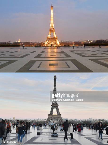 The twopart picture combo shows with 2 days apart above empty Esplanade du Trocadero while a strict lockdown comes into in effect in France to stop...
