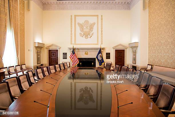 The twostory Board Room the meeting place of the Board of Governors of the Federal Reserve System and of the Federal Open Market Committee is the...