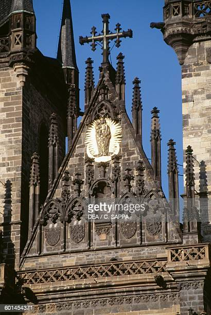 The tympanum of the Church of Our Lady before Tyn 13651511 Old Town Square in Prague Czech Republic