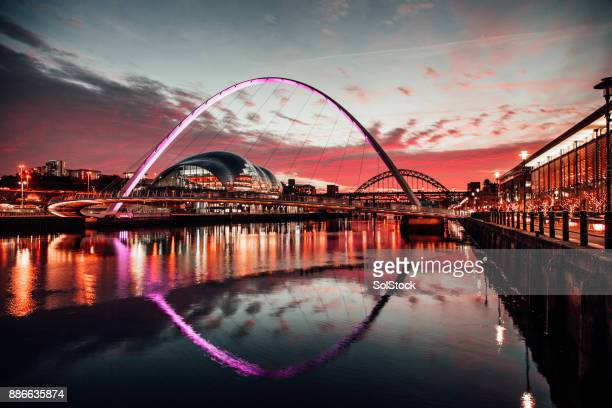 the tyne bridges at sunset - newcastle upon tyne stock pictures, royalty-free photos & images