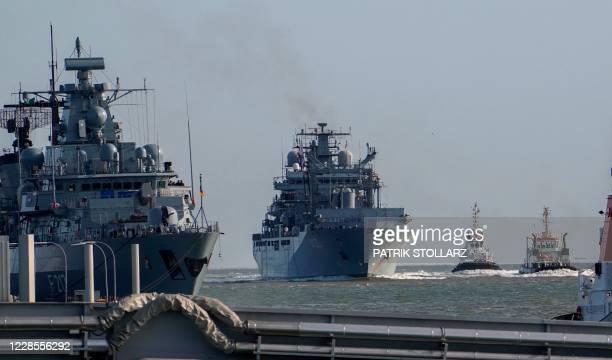 "The Type 702 Berlin-class supplier ship of the Deutsche Marine German navy ""Berlin"" arrives at the naval base in Wilhelmshaven, northern Germany, on..."