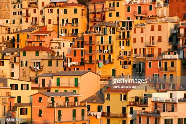 the typical houses of the village of manarola, cinque terre, italy - europa meridionale foto e immagini stock