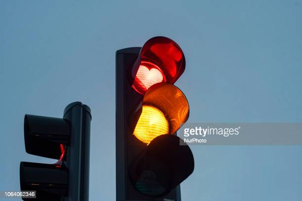 The typical traffic lights with the red heart that the city of Akureyri has