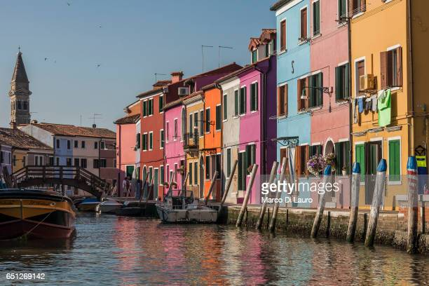 The typically colored houses of the Burano Island are seen on July 1 2015 in Venice Italy According to UNESCO Venice is in clear and urgent need of a...