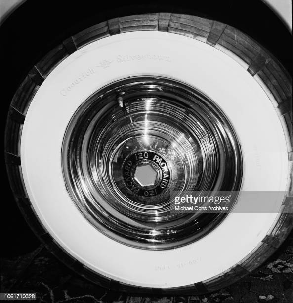 The tyre of a 1941 Packard 120 at a car showroom, USA, 1941.