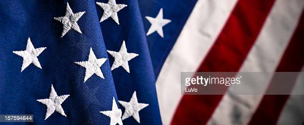 the u s a fabric flag close up - vaderlandsliefde stockfoto's en -beelden
