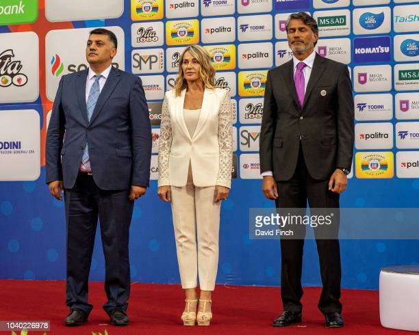 The u100kg medals were presented by Mr Naser Al Tameni Olympic legend Ms Nadia Comaneci and Mr Ragif Abbasov during day six of the 2018 Judo World...