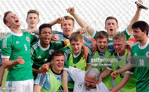 The U17 team of Germany celebrates after the UEFA Under17 Elite Round between Serbia and Germany at Stadion Karadjordje on March 31 2014 in Novi Sad...