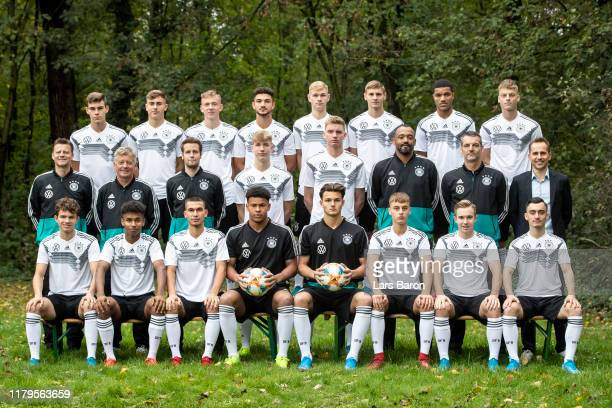 The U18 of Germany pose for a picture during the Germany U18 Team Presentation on October 07 2019 in Krefeld Germany