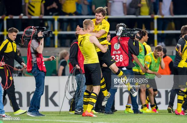 The U19 team of Borussia Dortmund celebrates the Championship win after the final whistle during the U19 German Championship Final match between U19...