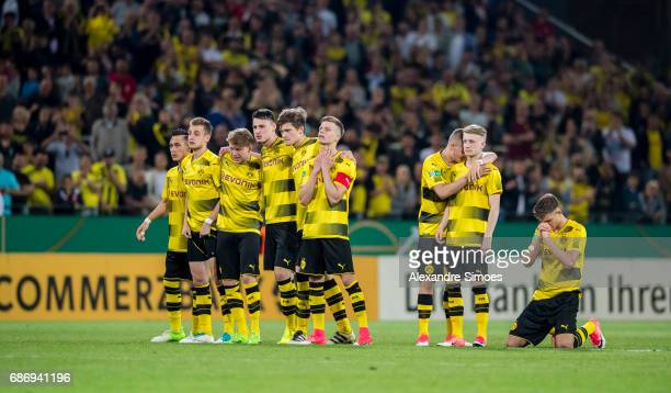 The U19 team of Borussia Dortmund during the last penalty kick during the U19 German Championship Final match between U19 Borussia Dortmund and U19...