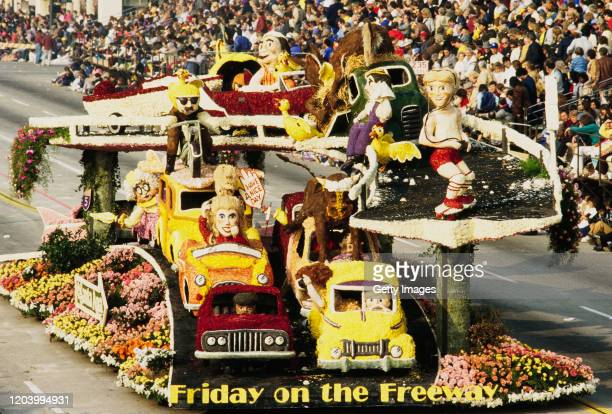 """The """"u201cFriday on the Freeway""""u201d float by City of Santa Ana passes along Colorado Boulevard during the 97th Tournament of Roses Parade on 1st..."""