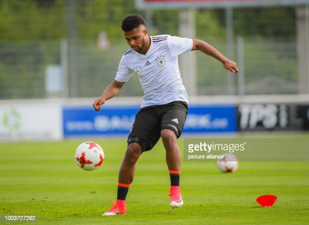 The U21 national team player of the German Bundesliga Team Bayern Munich Serge David Gnabry can be seen at the public training premises of the team...