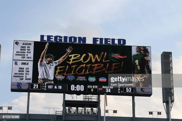 The UAB scoreboard announces that they are bowl eligible after the game between the UAB Blazers and the Rice Owls on November 04 2017 UAB defeated...