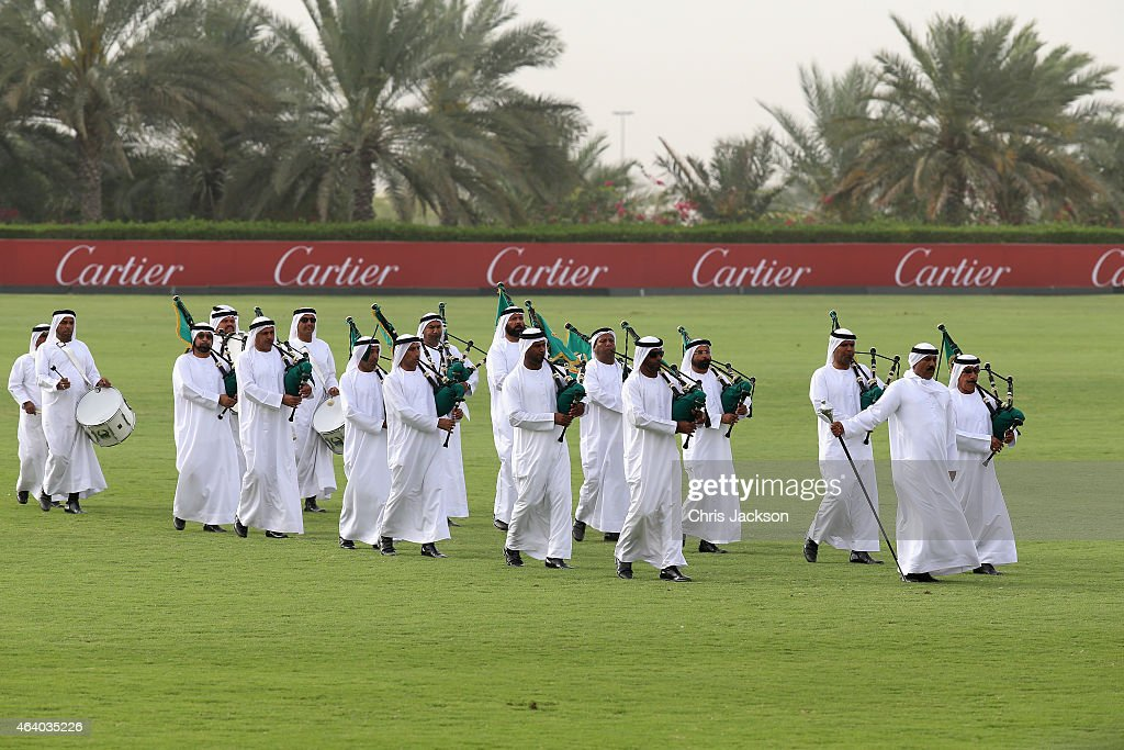 EMIRATES - FEBRUARY 21; The UAE bagpipes on the final day of the Cartier International Dubai Polo Challenge 10th edition at Desert Palm Hotel on February 21, 2015 in Dubai, United Arab Emirates. The event takes place under the patronage of HRH Princess Haya Bint Al Hussein, Wife of HH Sheikh Mohammed Bin Rashid Al Maktoum, Vice-President and Prime Minister of the UAE and Ruler of Dubai. The Cartier International Dubai Polo Challenge is one of the most prestigious happenings in Dubai's sporting and social calendar. On this occasion Cartier launched their latest watch creation Cle De Cartier.