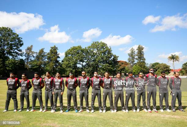 The UAE Team lineup for the singing of the National Anthems before The ICC Cricket World Cup Qualifier between The West Indies and The UAE at The Old...