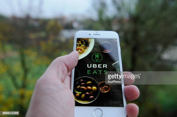 The Uber Eats app opening screen is seen on an iPhone on October 25 2017