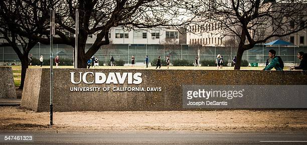 The UC Davis logo with a soccer game and bike riders in the background University of California at Davis Davis California Taken February 2 2015