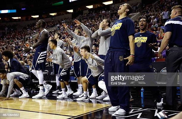The UC Irvine Anteaters bench reacts after a dunk in the second half against the Louisville Cardinals during the second round of the 2015 NCAA Men's...