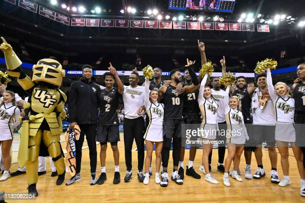 The UCF Knights celebrate after their victory over the Virginia Commonwealth Rams in the first round of the 2019 NCAA Photos via Getty Images Men's...