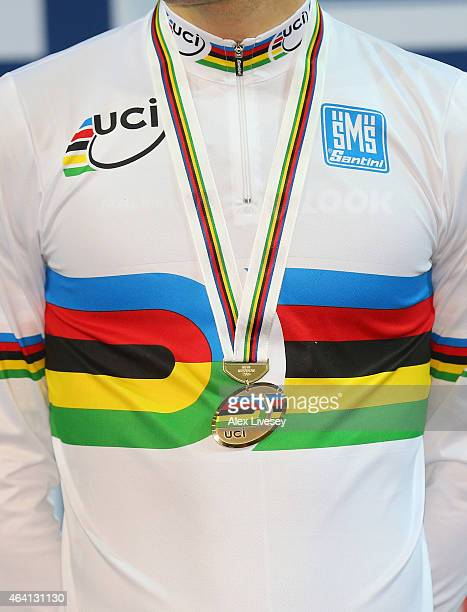 The UCI rainbow jersey and gold medal are seen during Day Five of the UCI Track Cycling World Championships at the National Velodrome on February 22...