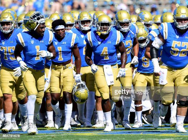 The UCLA Bruins head off the field before their game against the Oregon Ducks at Rose Bowl on October 21 2017 in Pasadena California