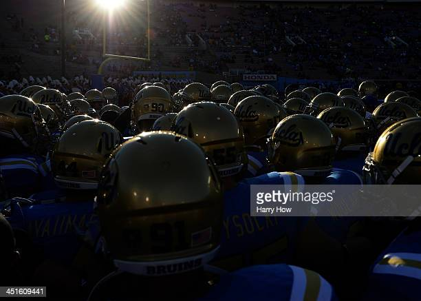 The UCLA Bruins huddle before the game against the Arizona State Sun Devils at Rose Bowl on November 23, 2013 in Pasadena, California.