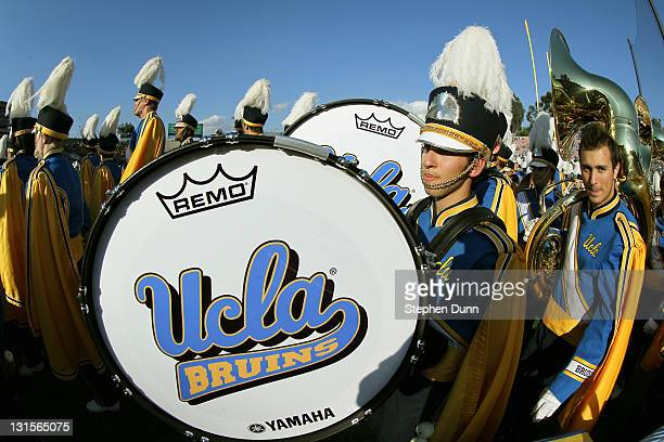 The UCLA Bruins marching band gets read to perform before the game with the Arizona State Sun Devils at the Rose Bowl on November 5 2011 in Pasadena...