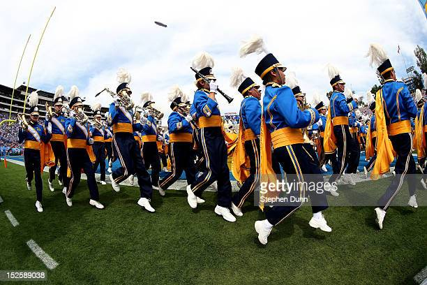 The UCLA Bruins marching band pereforms before the game with the Oregon State Beavers at the Rose Bowl on September 22 2012 in Pasadena California...