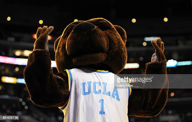 The UCLA Bruins mascot Joe Bruin during their game against the Washington State Cougars in the Pacific Life Pac-10 Men's Basketball Tournament at the...
