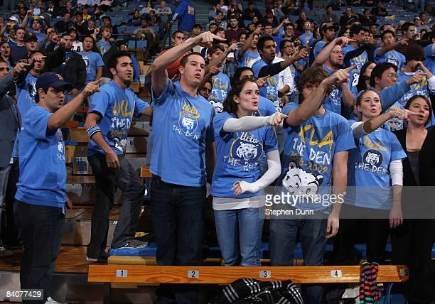 The UCLA Bruins student section performs their traditional pregame cheer before the game with the Loyola Marymount Lions at Pauley Pavilion December...